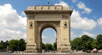 Triumphal arch in Bucharest. Arch of Triumph in Bucharest. Arcul de Triumf